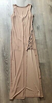 NWT nude beige long maxi dress with slit size small for forever 21