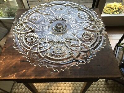 LARGE & TALL Vintage IMPERIAL GLASS Cake Stand Pedestal w/Stars & Ruffle Edges