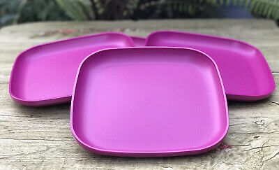 "Tupperware Plates Square  8"" raised sides Set Of 4 New"