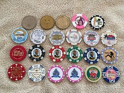 23 Casino Chips, some from Casinos, some novelty, Vegas and Cripple Creek, Obama