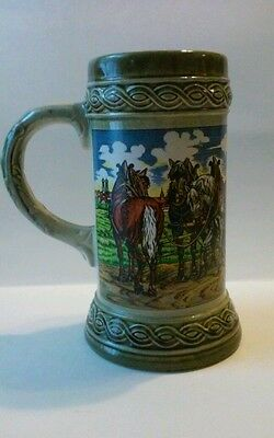 Original Gerzit German Beer Stein Mug Horse and Wagon with Barrels