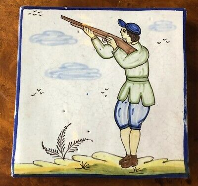 Antique Picture Tile Hand Painted Hunting Scene Dutch Delft! Thick Ceramic