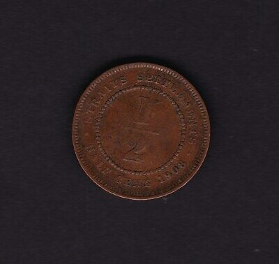 1908 Straits Settlements Half Cent Coin