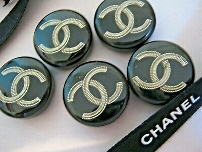 CHANEL BUTTONS lot of 5 BLACK 19 mm JUST UNDER 3/4 inch RESIN silver cc logo