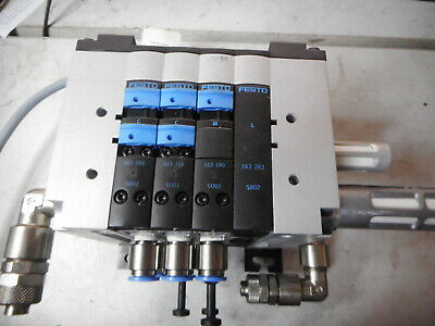 "FESTO 3 off SOLENOIDS and CPV MANIFOLD -- plus Fittings -- Large 1/4"" ports"