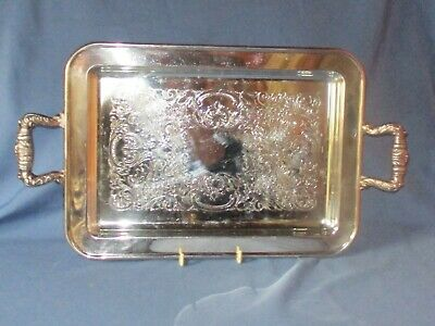 Vintage 2 Handled Rectangular Silver Plate Footed Serving Tray Etched Decoration