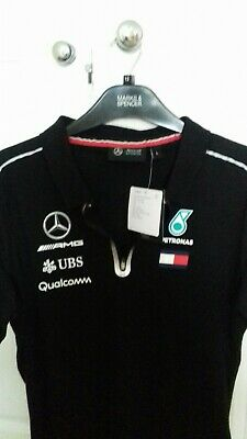 Official Mercedes AMG Petronas F1 Teamwear 2019 Womens Polo Shirt Black LARGE