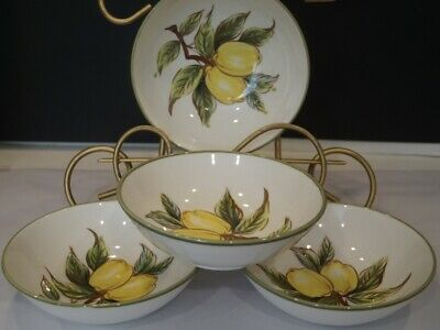 "Set Of 4 Lemon Tree By Josef Handpainted Lemons 6-1/4"" Soup Cereal Bowls"