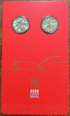 2020 $1  Lunar year of the Rat - 2 coins on card