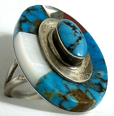 Rare Hopi Old Pawn Sterling Silver Turquoise Inlay Ring Jackson Secklestewa