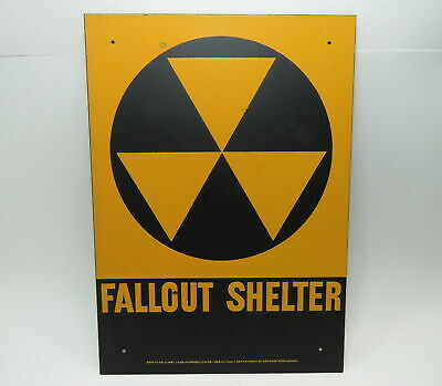 Vintage Original FALLOUT SHELTER Sign 10x14 Cold War Relic NOS~Never Used