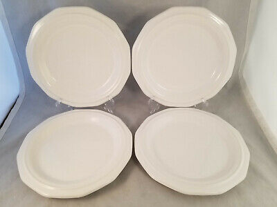 """Set of 4 Pfaltzgraff Heritage White 8 3/8"""" Lunch Luncheon Plates - USA"""