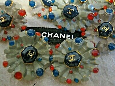 CHANEL 8 gray blue BUTTONS lot of 10 sz 23mm gold metal  cc logo, 8