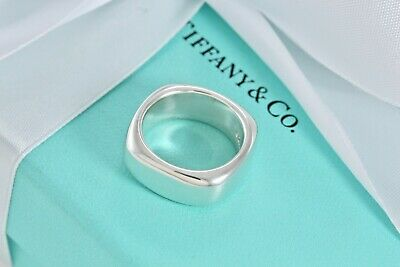Tiffany & Co Sterling Silver Square Cushion Band Ring Size 7 w/ Pouch