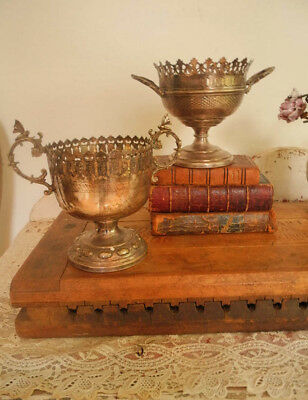 Beautiful Set of 2 Vintage Silver Plated Urns with Ornate Details
