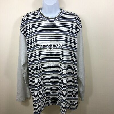 Guess Jeans Vintage Top Size Large Long Sleeve Unisex Gray Blue Striped A320