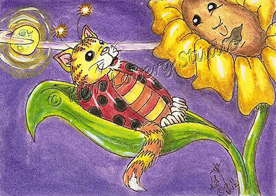 Cat-a-Bug Cat Lady bug lullaby aceo EBSQ Loberg Fantasy Insect mini Art flower