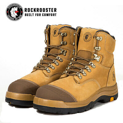 ROCKROOSTER Work Boots, Steel Toe Cap Safety Lace Up Free Shipping