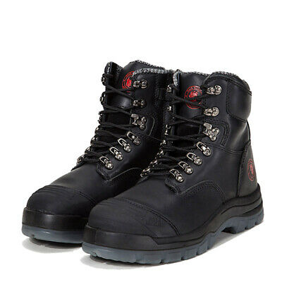 ROCKROOSTER Work Boots Steel Toe Cap Safety Shoes Side Zip Fast Free Shipping