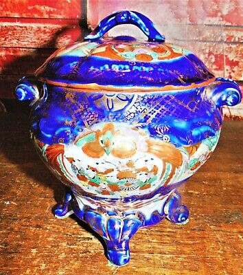 Antique Porcelain Famille Rose W/Immortals covered/footed Jar Canister signed EX