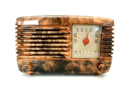 VINTAGE 1940s PHILCO ART DECO & SWIRLED CATALIN COLORS BAKELITE TUBE RADIO PLAYS