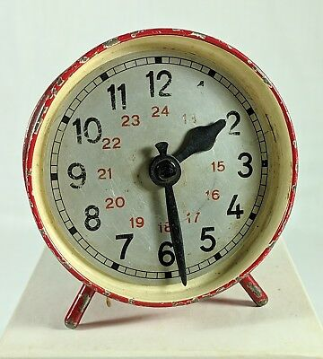 1920's TIN CLOCK STILL BANK Bright Red, Key Lock Trap, German or American