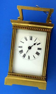 E 80. Vintage French Time Only 8 Day Carriage Clock Mint Porcelain Dial, Running