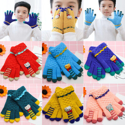 Childrens Girl Boy Magic Gloves Cute Cartoon Bear Mitten Kids Winter Finger Warm