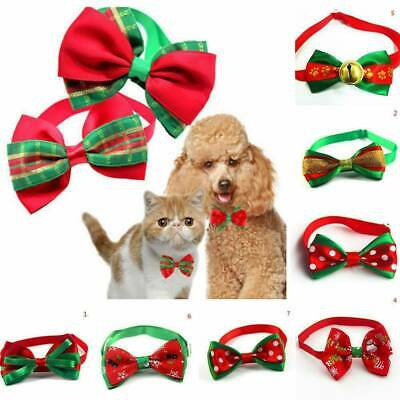 Merry Christmas Dog Cat Pet Puppy Bow Knot Necktie Collar Bow Tie Clothes Decor