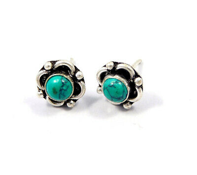 Turquoise .925 Silver Plated Handmade Stud Earring Jewelry JC8157