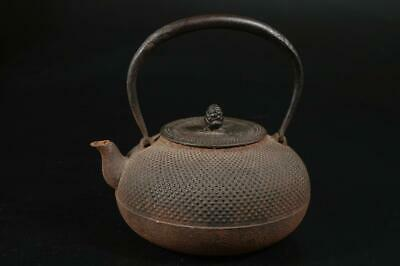U6509: Japanese Iron Arare pattern TEA KETTLE Teapot Tetsubin Tea Ceremony