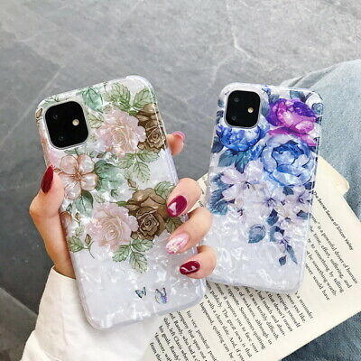 For iPhone 11 Pro Max XS XR 8 7 6+ Flower Shell Texture Silicone Soft Case Cover