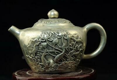 chinese old  copper-plating silver hand engraving teapot d02