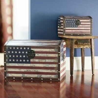 Set 2 American Flag USA Wood Storage Trunks Red White Blue Nesting Faux Antique