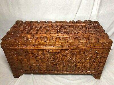 Large Magnificent Oriental Tribal Camphor Wood Carved Chest Trunk Coffee Table