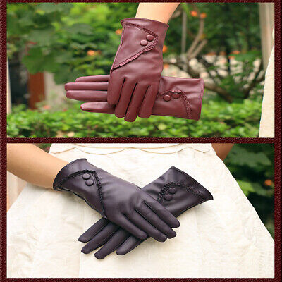 Ladies Leather Gloves Women Real Soft Fleece Lined Winter Casual Driving Warm
