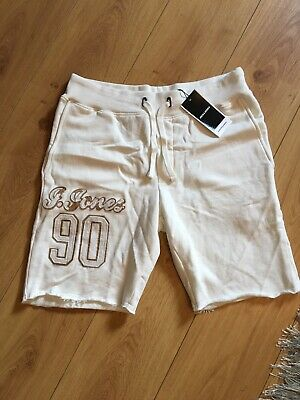 Jack & Jones Mens Medium Size White Graphic Soft Chilling Shorts With Logo New
