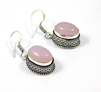 Pink Chalcedony .925 Silver Plated Carving Earring Jewelry JC9224