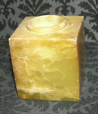 Old ~Hand Cut Square Marble / Alabaster Decorative Knobler Candle Holder ~ India