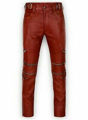 New Mens Genuine Leather Breeches Ankle Zipper Side Stripes Boot Pants Gay kink