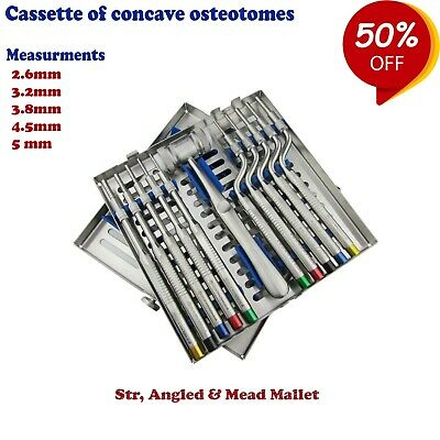 Set of 11 Sinus Osteotomes Offset Concave tip Handle with Cassettes