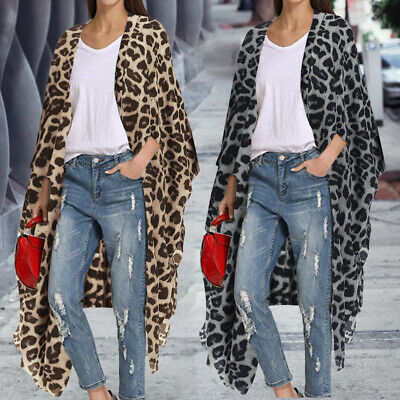 Womens Summer Leopard Print Cover Up Coat Jacket Cardigan Kimono Swim Beach Wear