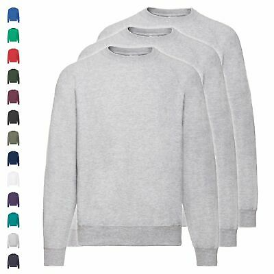3er Pack Fruit of the Loom Classic Raglan Sweat Sweatshirt Herren Damen Unisex