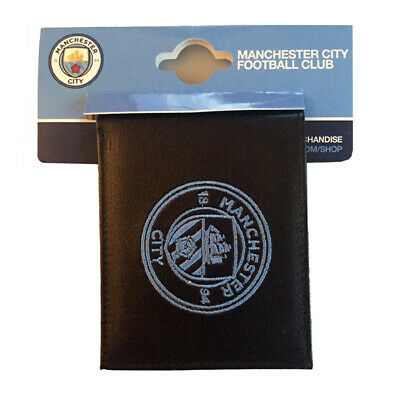Official Manchester City Football Club Crest Embroidered Leather Wallet Gift