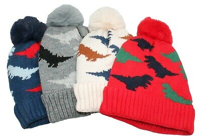 Boys Colourful Dinosaur Winter Fleece Lined Trapper Hat and Scarf Age 6-24M 1-8Y