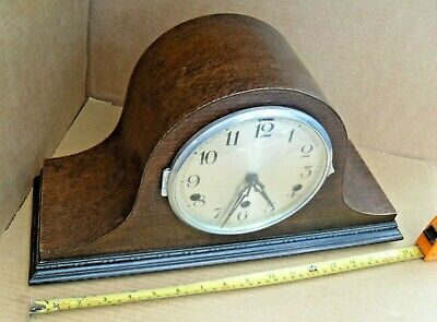 Vintage Ticking & Chiming Tune Mantelpiece Clock Mantel Brass Movement Pendulum