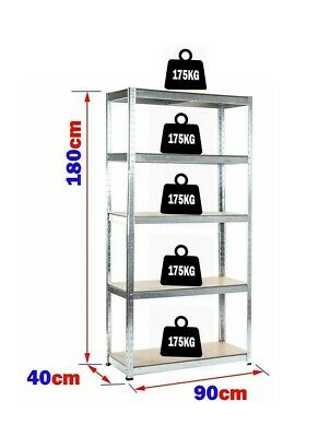 Garage Shed 5 Tier Racking Storage Shelving Units Boltless Heavy Duty Shelves