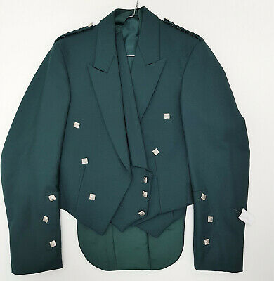 Ex Hire KIDS Green Prince Charlie Jacket & Vest Scottish Made A1 condition £29