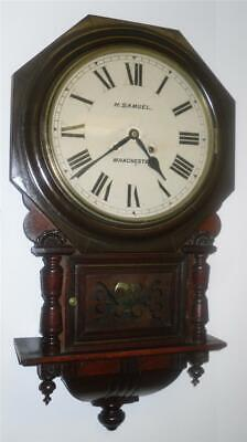 Beautiful Antique Mahogany Drop Dial Wall Clock H. Samuels Manchester