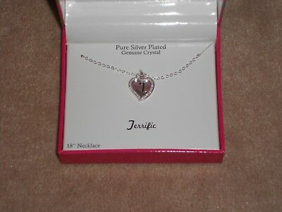 "New Pure Silver Plated Genuine Crystal Terrific 18"" Necklace In Gift Box"